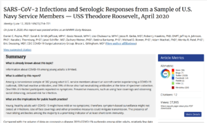 SARS-CoV-2 Infections and Serologic Responses from a Sample of U.S. Navy Service Members. – USS Theodore Roosevelt, April 2020